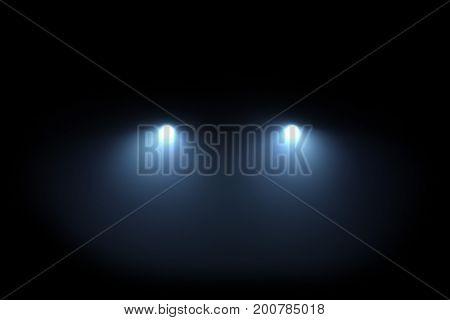 Car head lights shining from darkness background. Raster illustration lightning template.