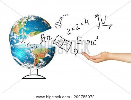 Globe and symbols of the school. Educational concept. Illustration 3d of educational concept. Back to school concept.