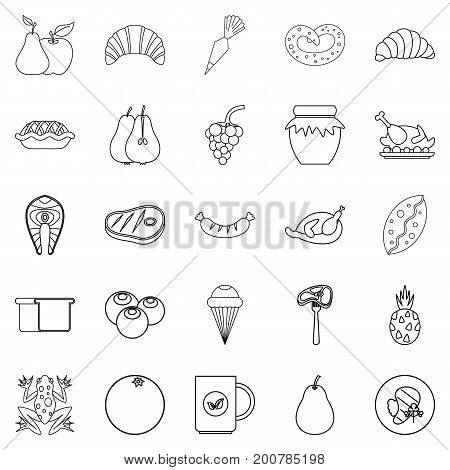 Fare icons set. Outline set of 25 fare vector icons for web isolated on white background
