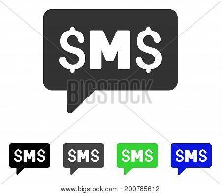 SMS Message flat vector illustration. Colored sms message, gray, black, blue, green pictogram versions. Flat icon style for web design.