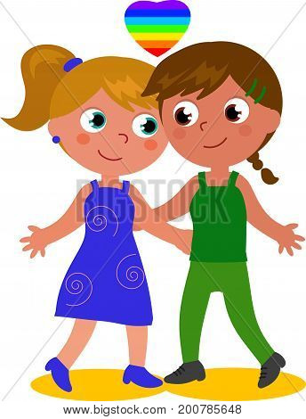 Cartoon female homosexual couple cartoon vector illustration