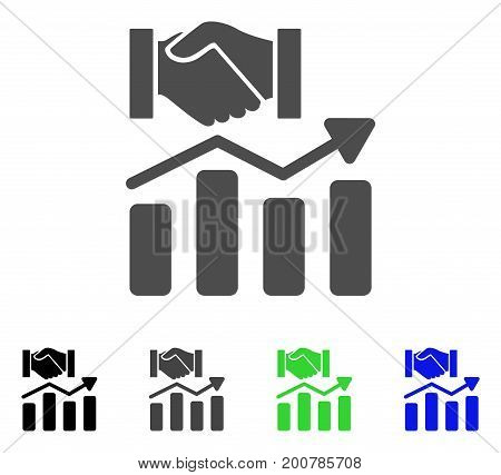 Acquisition Hands Graph Trend flat vector icon. Colored Acquisition hands graph trend, gray, black, blue, green icon versions. Flat icon style for application design.