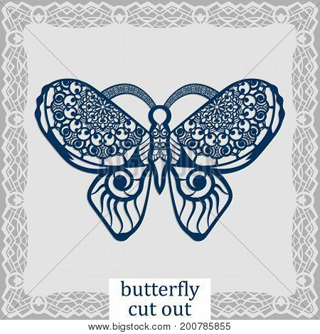 Butterfly - a template for laser cutting. Design element for a wedding romantic meeting or greeting card. Can be used as a decorative element in the construction in the windows. Vector.
