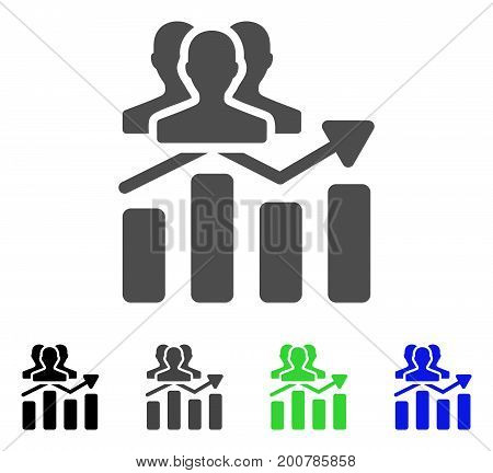 Audience Chart Trend flat vector icon. Colored audience chart trend, gray, black, blue, green icon variants. Flat icon style for graphic design.