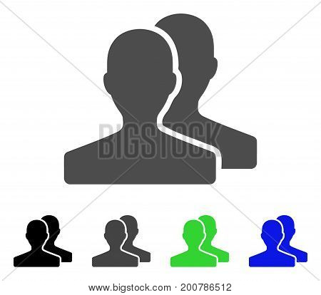 Customers flat vector icon. Colored customers, gray, black, blue, green icon variants. Flat icon style for application design.