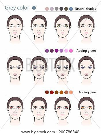 Different types of eyeshadow on grey-eyed women