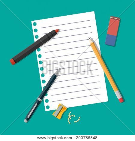 Black pencil, sharpener and eraser. White paper blank and marker. Stationery set. Office supply. Sketch. Vector illustration, flat style pencil