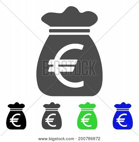 Euro Money Bag flat vector icon. Colored euro money bag, gray, black, blue, green icon versions. Flat icon style for application design.