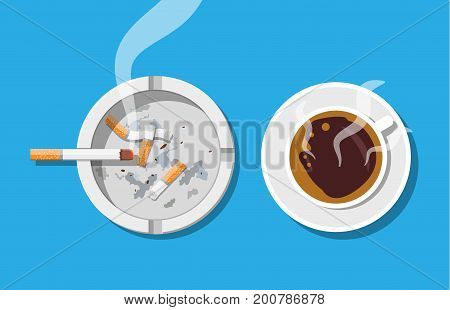 Coffee cup and ashtray full of smokes cigarettes. Unhealthy lifestyle. Vector illustration in flat style