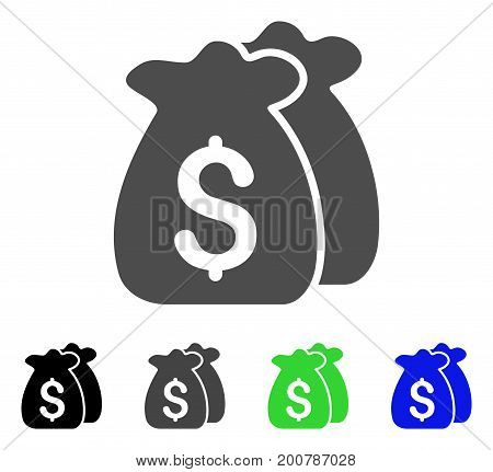 Funds flat vector icon. Colored funds, gray, black, blue, green pictogram versions. Flat icon style for graphic design.