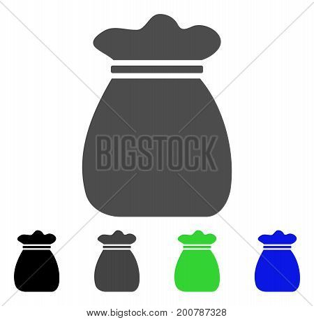 Profit Bag flat vector icon. Colored profit bag, gray, black, blue, green icon versions. Flat icon style for application design.