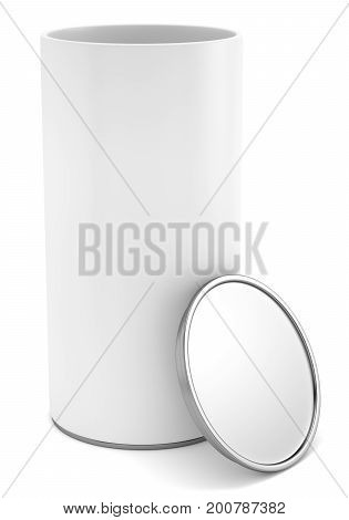 Blank opened cylindrical package with metal cap mock up template isolated on white background. 3d rendering