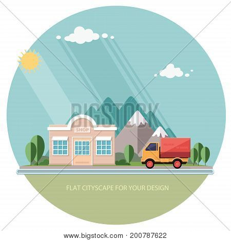 Truck delivery of goods. roadside shop on a background of mountains. Flat style vector illustration.