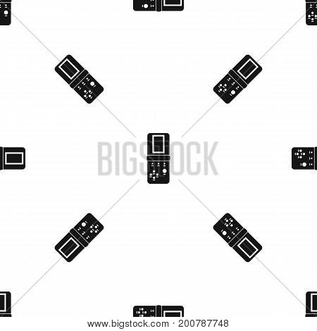 Tetris pattern repeat seamless in black color for any design. Vector geometric illustration