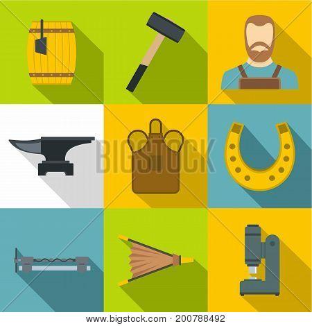 Blacksmith equipment icons set. Flat set of 9 blacksmith equipment vector icons for web with long shadow