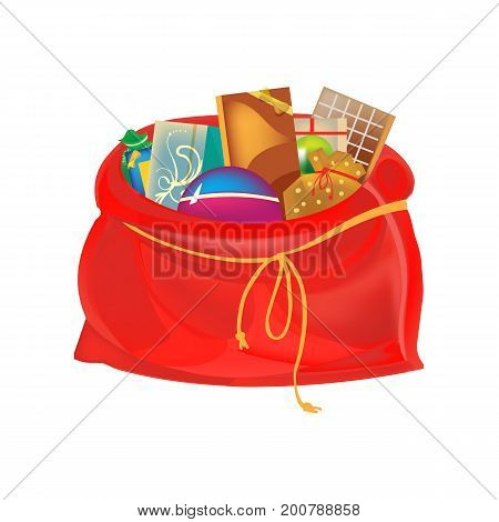 Christmas holiday boxes, packages, bags for gifts, games and sweets concept. Festive beautiful, a big New Year's bag, with gifts and a surprise, santa claus bag. Vector illustration isolated.
