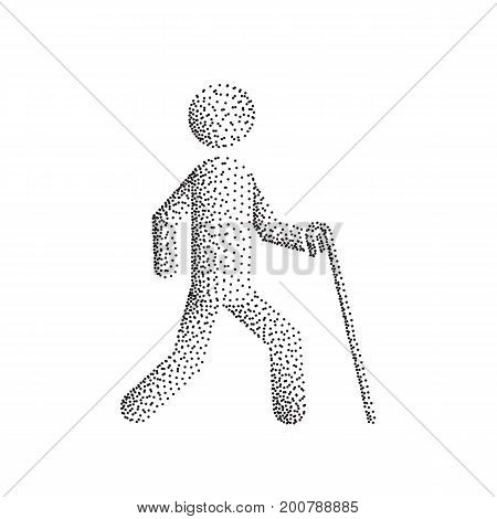Blind man person stick figure walking with white cane, vector silhouette. Illustration dot point gradient.