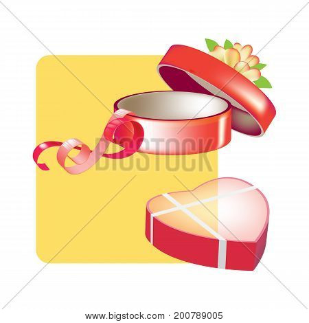 Holiday boxes, packages and bags for gifts concept. Gift box with heart-shaped and circle shapes sweets. Nice pleasant surprise. Vector illustration isolated on white background.