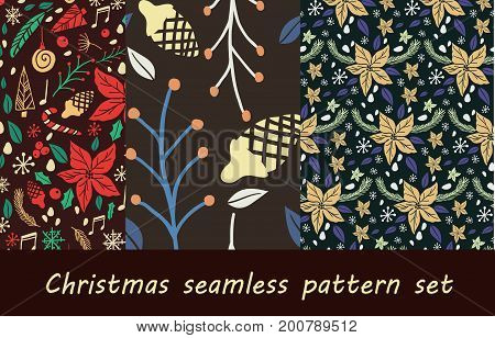 Vector Set of Christmas seamless pattern with fir tree, poinsettia, cones, berries, notes cone christmas tree
