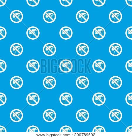 Etching insect pattern repeat seamless in blue color for any design. Vector geometric illustration