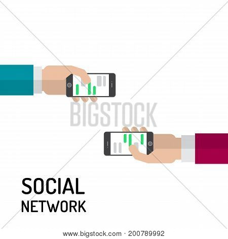 Communication of people through social network concept in flat style vector isolated on white background