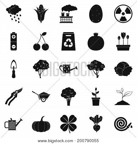 Tropical crop icons set. Simple set of 25 tropical crop vector icons for web isolated on white background