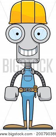 Cartoon Smiling Construction Worker Robot