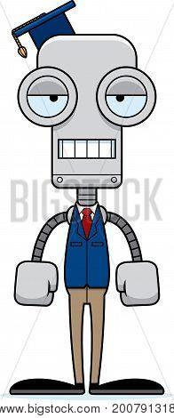 Cartoon Bored Teacher Robot