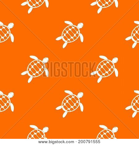 Turtle pattern repeat seamless in orange color for any design. Vector geometric illustration