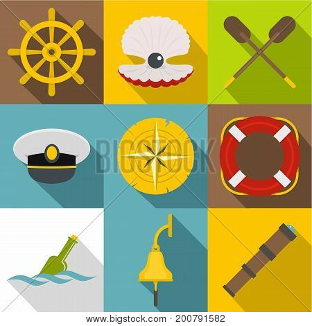 Sea adventure icons set. Flat set of 9 sea adventure vector icons for web with long shadow