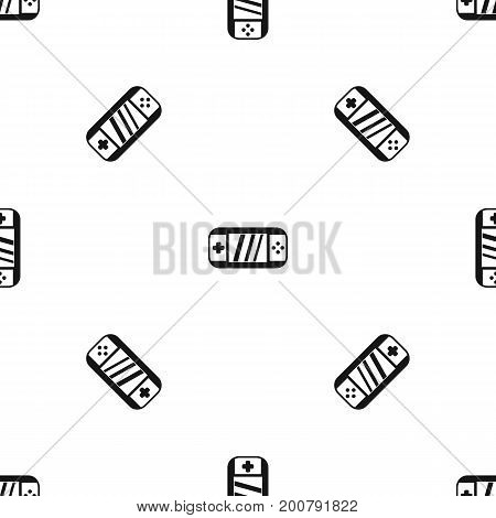 Portable video game console pattern repeat seamless in black color for any design. Vector geometric illustration