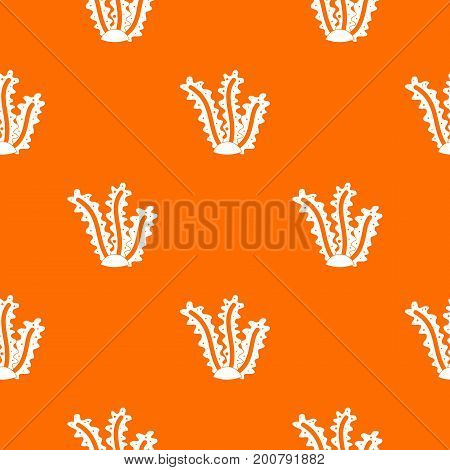 Seaweed pattern repeat seamless in orange color for any design. Vector geometric illustration