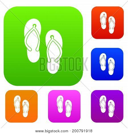 Beach thongs set icon in different colors isolated vector illustration. Premium collection