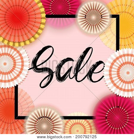 Autumn new collection sale banner with paper flowers for online shopping, advertising actions, magazines and websites. Vector illustration.