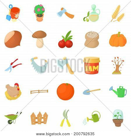 Garden tillage icons set. Cartoon set of 25 garden tillage vector icons for web isolated on white background