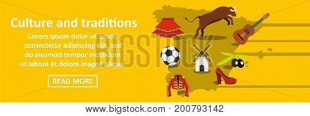 Culture and traditions spain banner horizontal concept. Flat illustration of culture and traditions spain banner horizontal vector concept for web