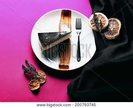 Delicious Sweet Piece Of Cake With Chocolate