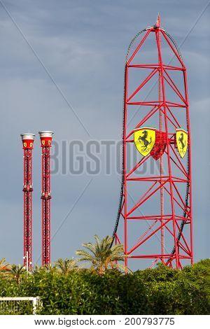 SALOU/ SPAIN - MAY 29, 2017. Ferrari Land roller coaster at the theme park Portaventura, Salou, Spain.