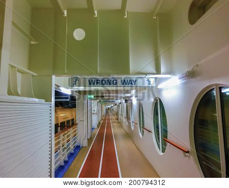 Barcelona, Spain - September 12, 2015: The cruise ship Allure of the Seas, The Royal Caribbean International. The view of the deck of ship with running track at Barcelona, Spain on September 12, 2015