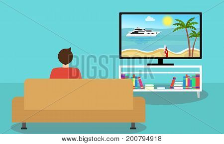Man on the sofa watching television. Home furniture and tv screen vectors. Flat design illustration.