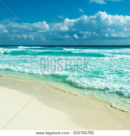highly detailed Caribbean beach panorama Tulum Mexico