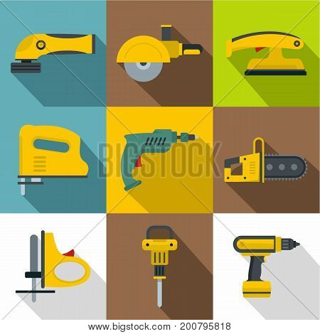 Electric machine for building icons set. Flat set of 9 electric machine for building vector icons for web with long shadow