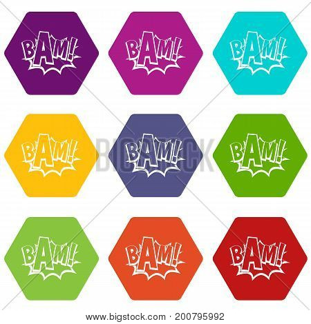 BAM, comic book bubble icon set many color hexahedron isolated on white vector illustration