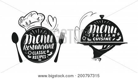 Catering, canteen concept. Illustration for design menu restaurant or cafe. Lettering, calligraphy vector illustration isolated on white background