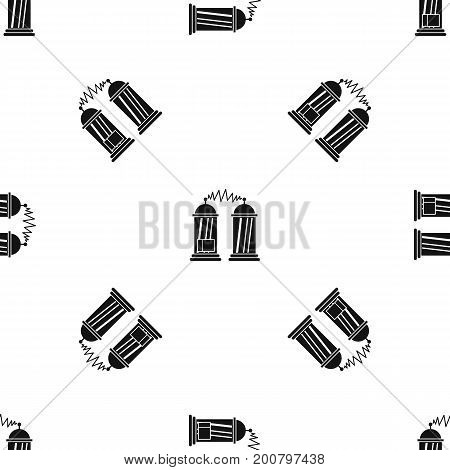 Electrical impulses pattern repeat seamless in black color for any design. Vector geometric illustration