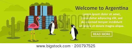 Welcome to argentina banner horizontal concept. Flat illustration of welcome to argentina banner horizontal vector concept for web