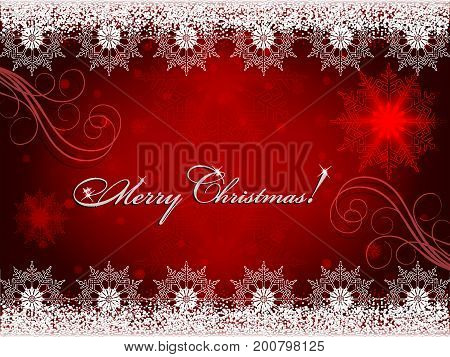 Christmas red background with beautiful snowflakes and text