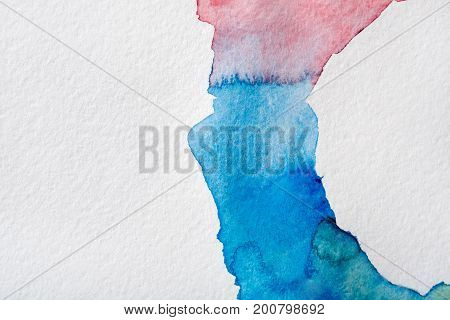 Abstract bright watercolor spots painted texture background. Violet and blue on white with copy space