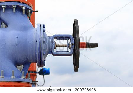 Blue Big Valve of the Cooling Tower