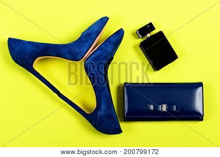 Accessories In Formal Style For Women Isolated On Yellow Background